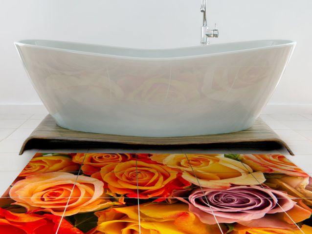 מדבקת רצפה - פרחים