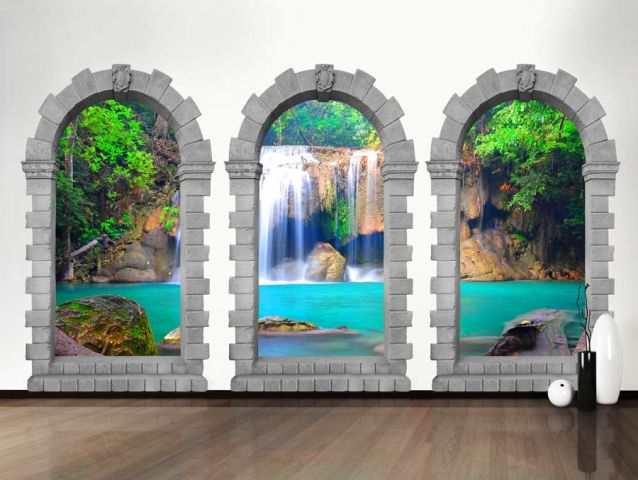 מדבקת קיר 3D | קשתות למפל