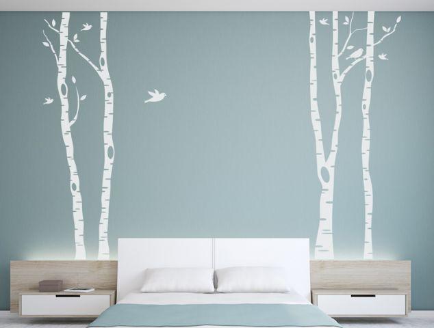 מדבקת קיר לחדר השינה - עצים וציפורים