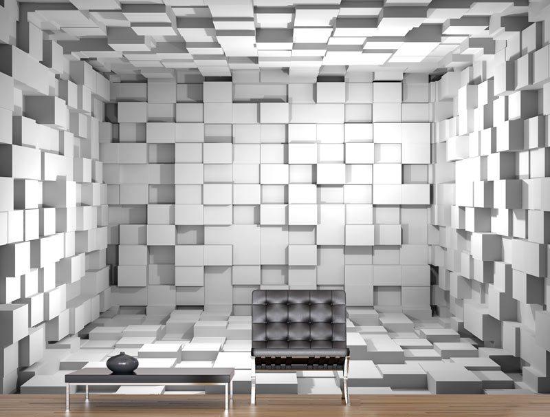 טפט קוביות 3D | טפט מדבקה | טפט לחדר שינה