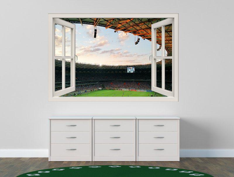 מדבקת קיר משחק ברצלונה נגד מדריד | מדבקת חלון 3D | מדבקה לחדרי נוער
