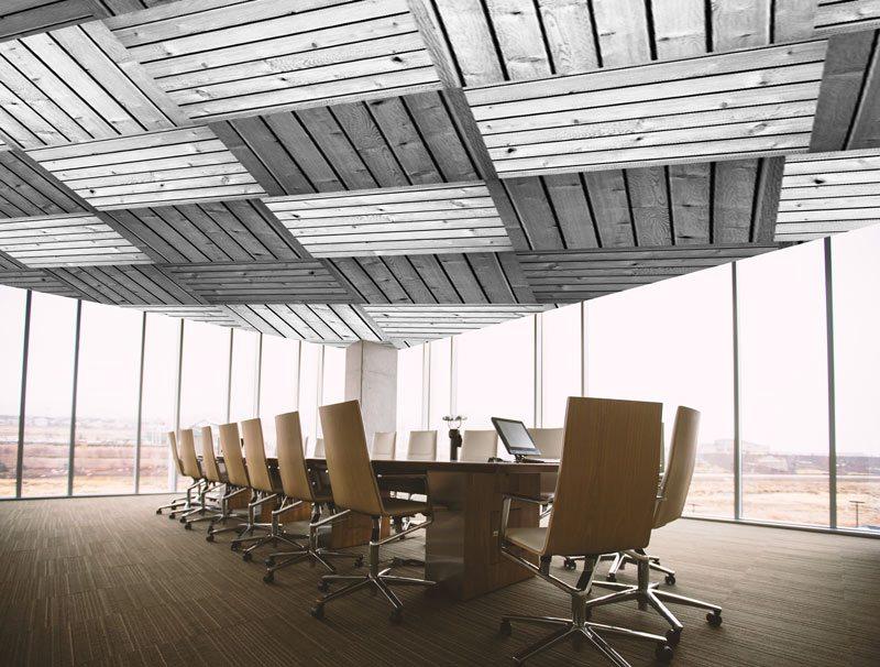 לוחות עץ שחור לבן | טפט לחדר ישיבות | טפט תקרה