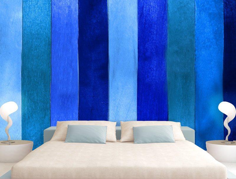 טפט פסים כחולים | טפט מדבקה | טפט לחדר שינה