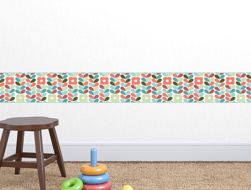 מדבקת קיר לגני ילדים | מדבקת קיר | פרחים בורדר