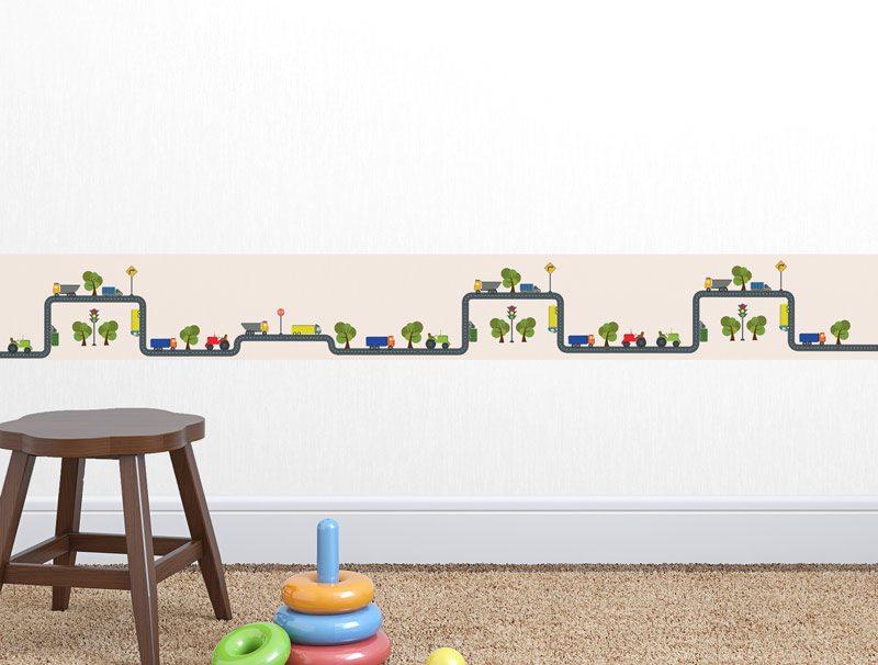 מדבקת קיר לגני ילדים | מדבקת קיר | בורדר כביש