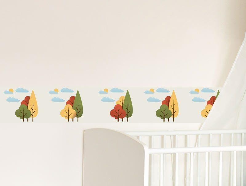 מדבקות קיר לחדרי ילדים | מדבקת קיר | בורדר עצים מצויירים