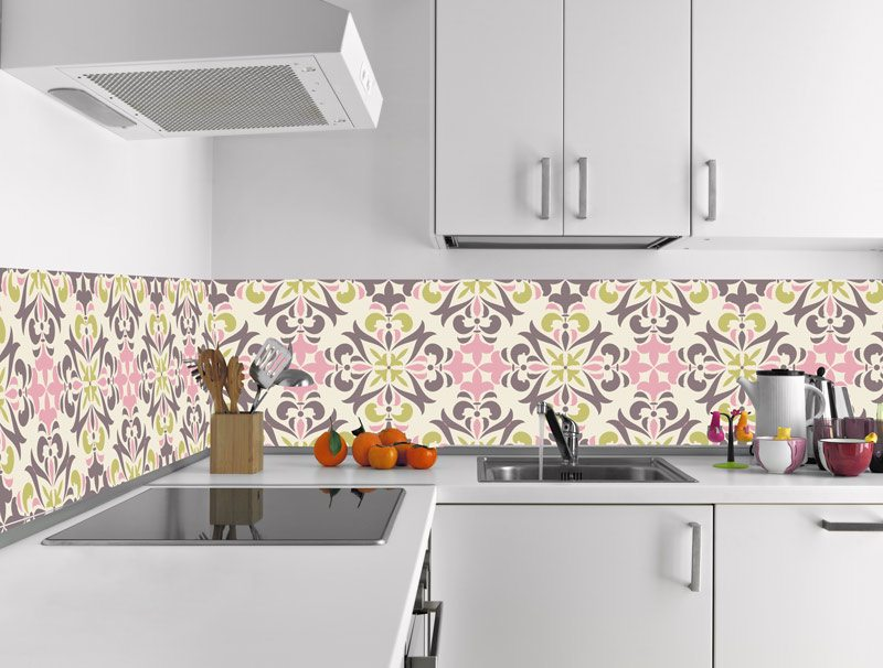 מדבקת קיר למטבח | מדבקות אריחים | פרחי האביב