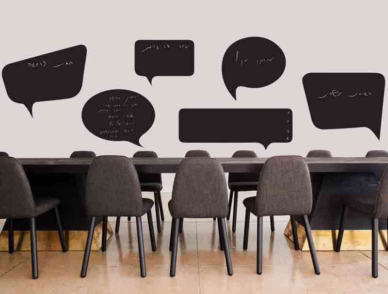 מדבקת קיר למשרדים | סט מדבקות קיר | בועות גיר