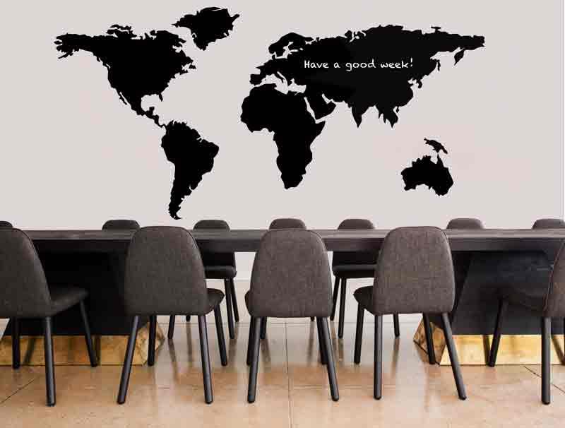 מדבקת קיר לחדרי ישיבות | מדבקת קיר | לוח גיר מפת העולם