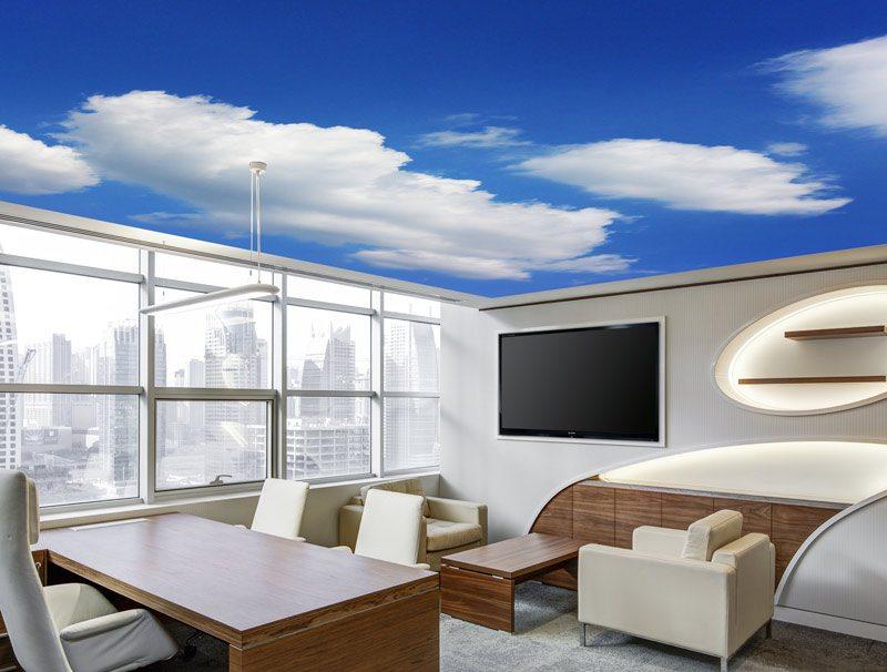 טפט לסלון | טפט לתקרה | שמים כחולים