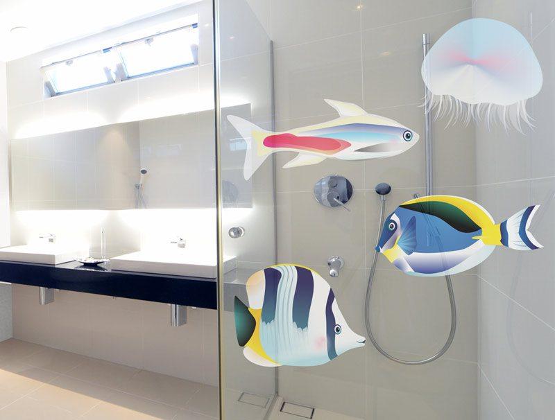 מדבקות קיר למקלחת | מדבקה לזכוכית | דגיגונים