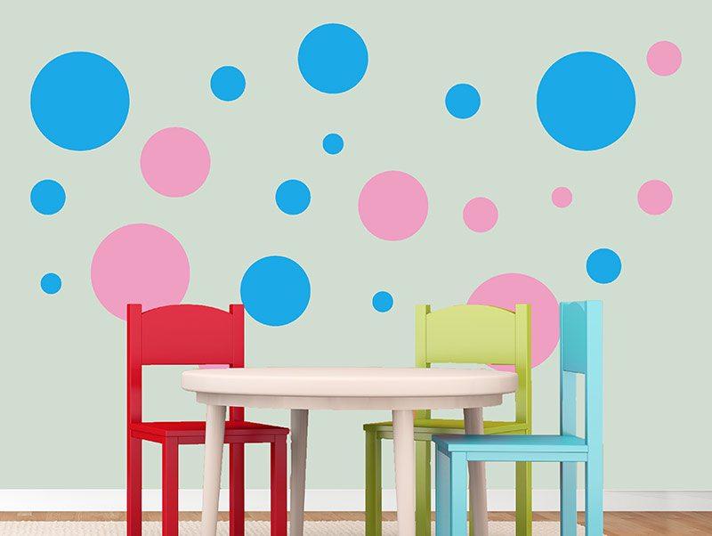 מדבקת קיר לחדרי ילדים | סט מדבקות קיר | עיגולים