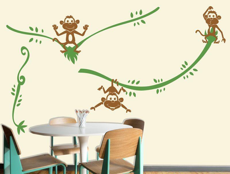 מדבקת קיר לחדרי ילדים | מדבקת קיר | קופים משתוללים