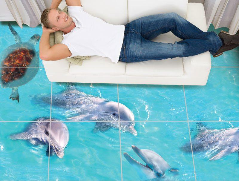 טפט | מדבקות רצפה | דולפינים וצב ים