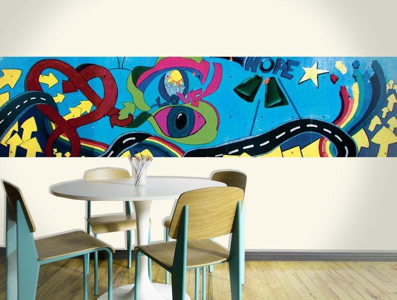 מדבקת קיר | בורדר גרפיטי תקווה ואהבה