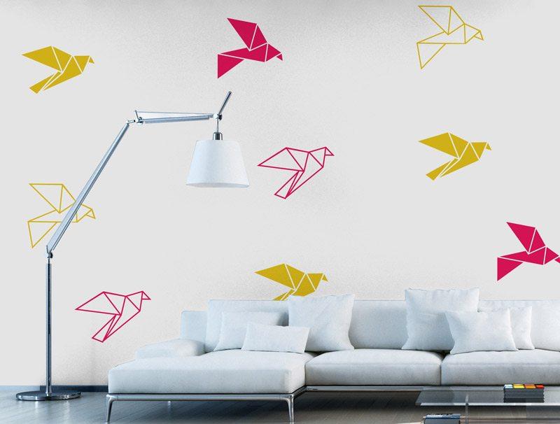 מדבקת קיר | סט מדבקות קיר | ציפורי אוריגמי
