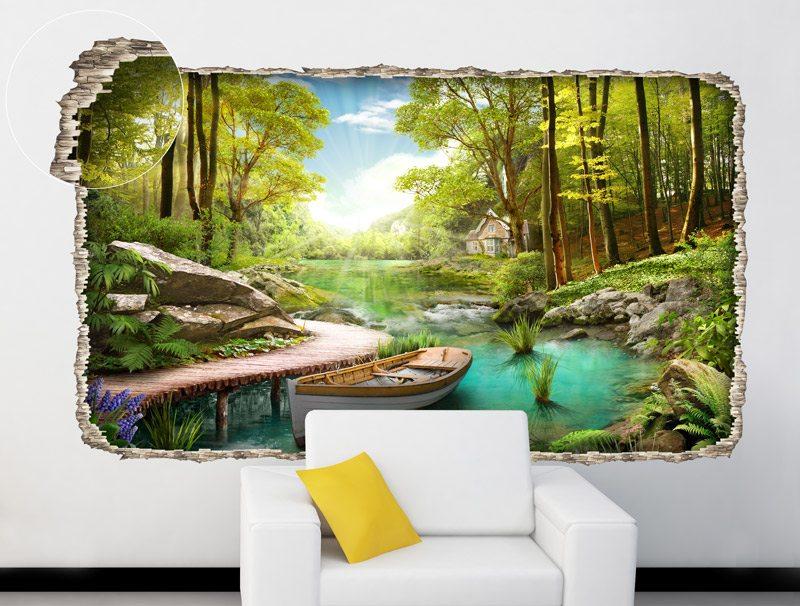 מדבקת קיר מדבקת חור בקיר עם נוף של בית קטן ביער עם סירה לבנה