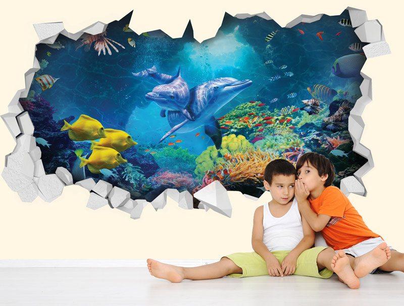מדבקת קיר חור בקיר דגים ודולפינים