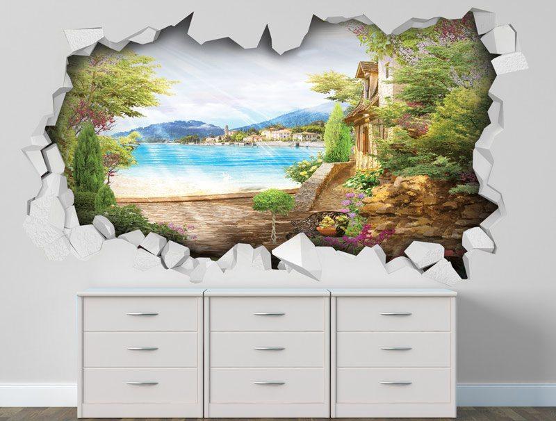 מדבקת קיר מדבקת חור בקיר נוף יפיפה של ים ועיר