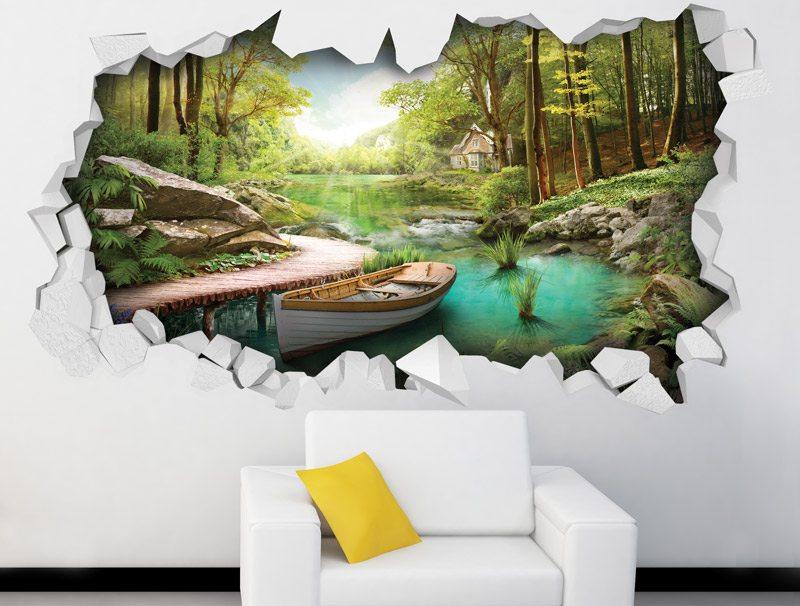 מדבקת קיר מדבקת חור בקיר עם נוף יפיפה של נהר ביער עם סירה לבנה