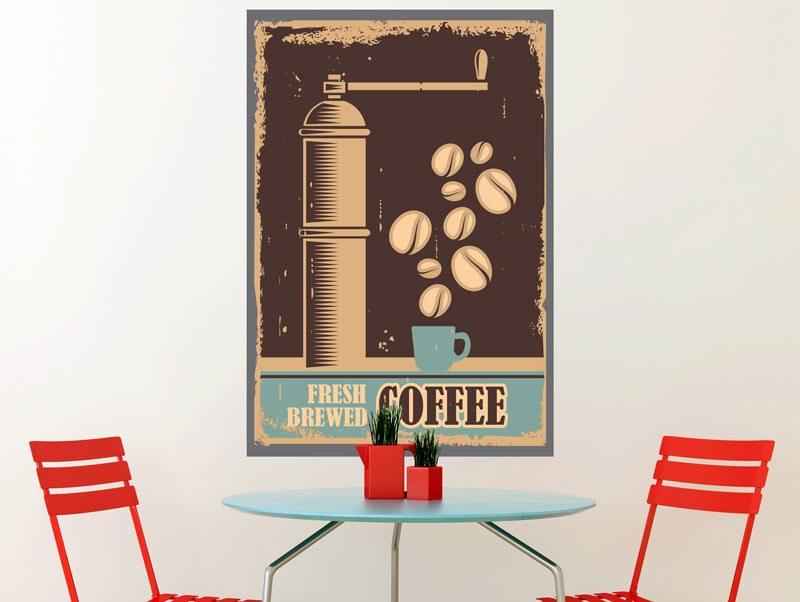 מדבקת קיר - קפה טרי