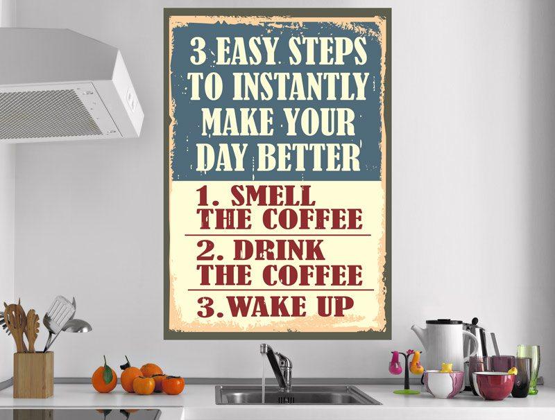 מדבקת קיר של 3 טיפים ליום טוב שקשורים לקפה