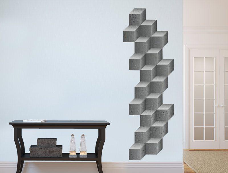 מדבקת קיר | קוביות בטון תלת מימדיות