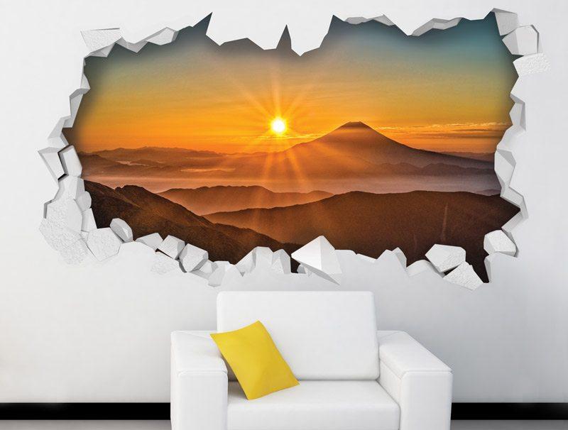 מדבקת קיר | חור תלת מימדי עם נוף של שקיעה
