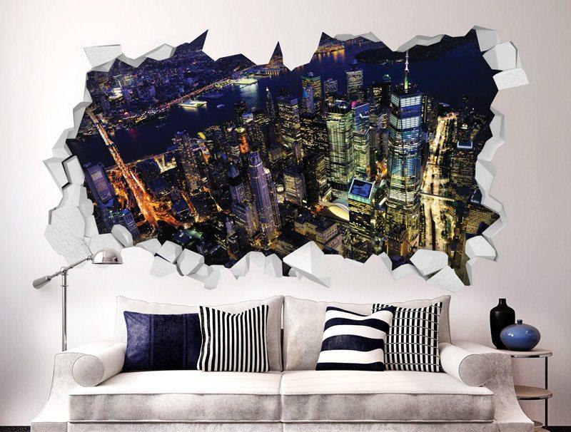 מדבקת קיר | חור תלת מימדי עם נוף לעיר יפיפה בלילה