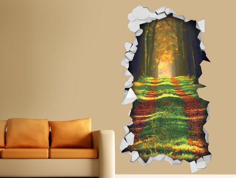 מדבקת קיר | חור תלת מימדי עם נוף של שביל בין עצים