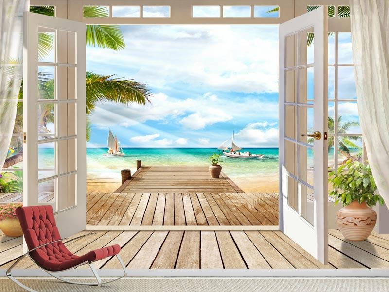 טפט | מרפסת עץ יפיפה עם יציאה לים